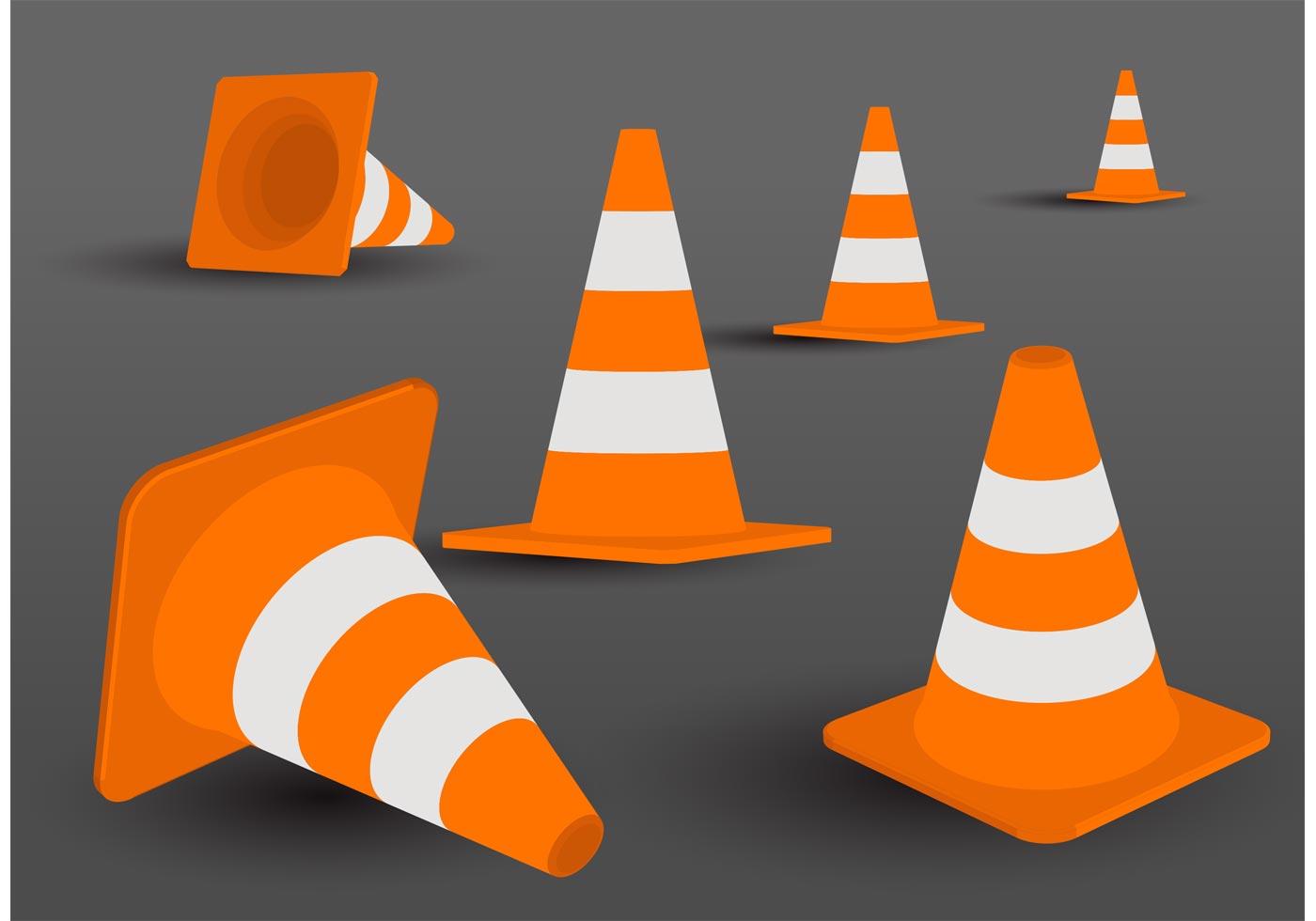orange cone vector pack download free vector art stock