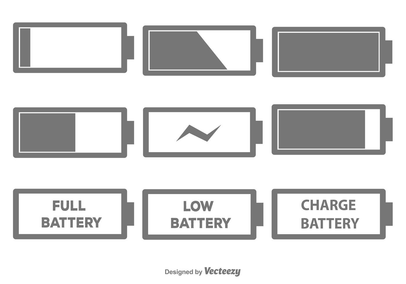 Batterie Icon Set - Kostenlose Vektor-Kunst, Archiv-Grafiken ...