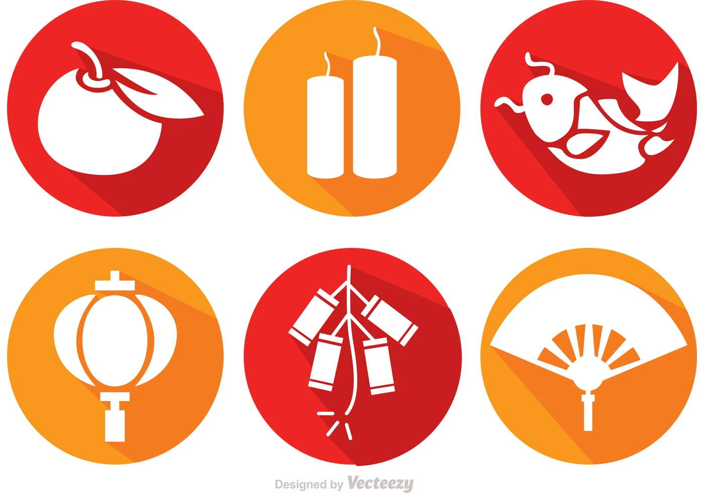 Long shadow chinese lunar new year icons vector download for Chinese vector