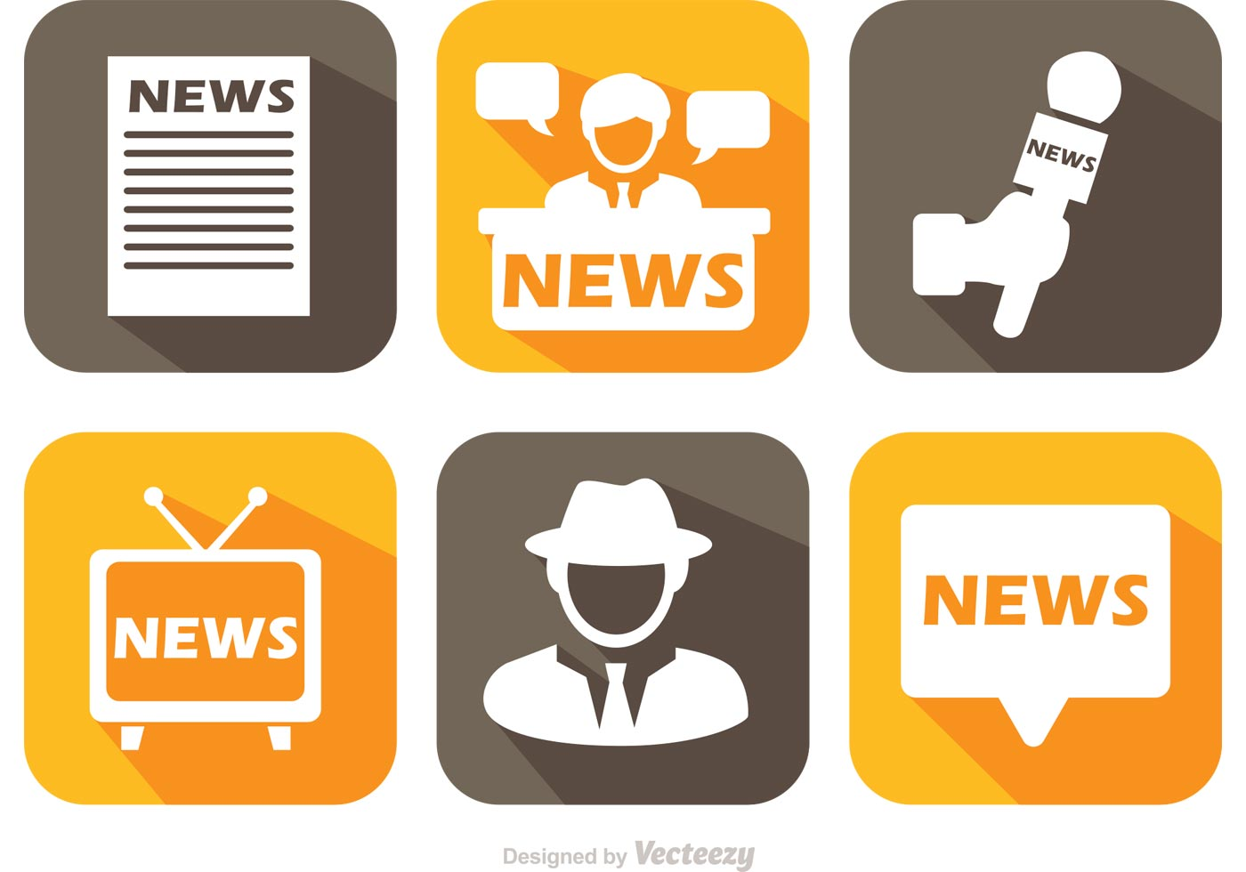 News News: News Media Long Shadow Icons Vector
