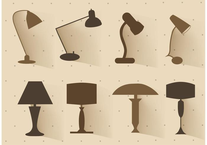 Free vector set of lamp silhouettes