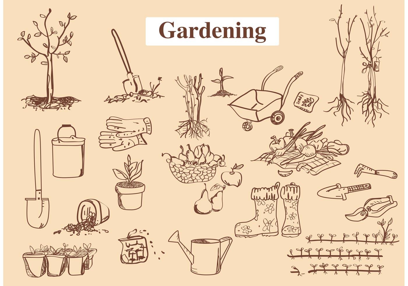 Hand drawn garden tool vectors download free vector art for Gardening tools vector