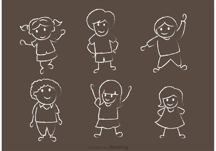 Happy Kids Chalk Drawn Vector Pack