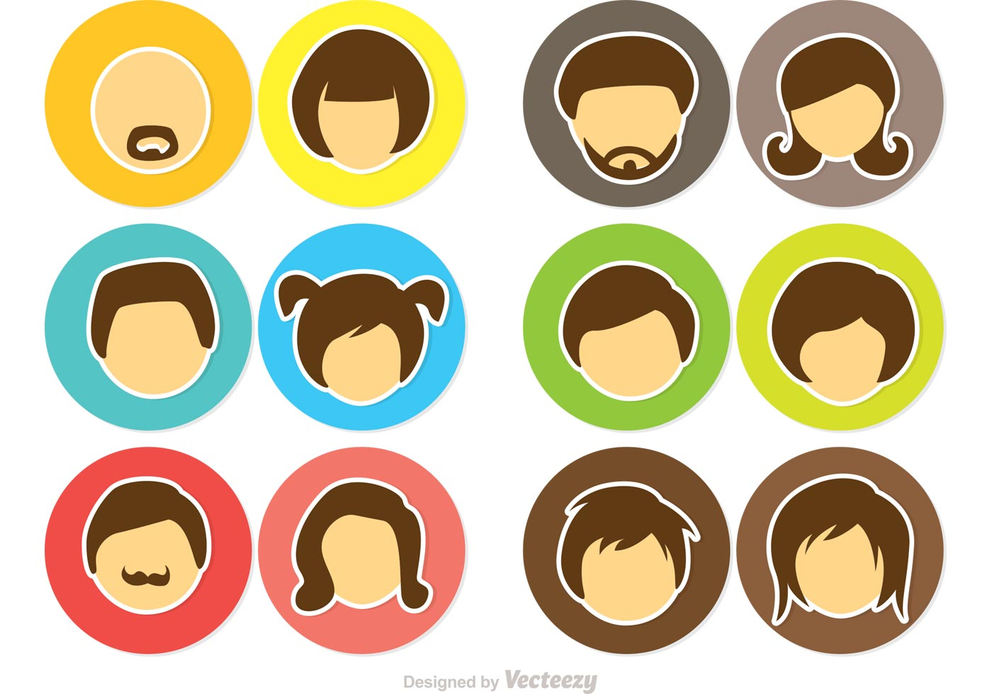 Cartoon Face Icons Vector Pack Download Free Vector Art