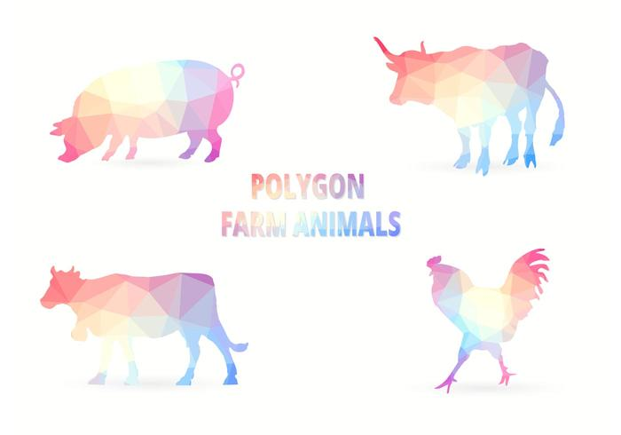 Polygon Farm Animals Vector
