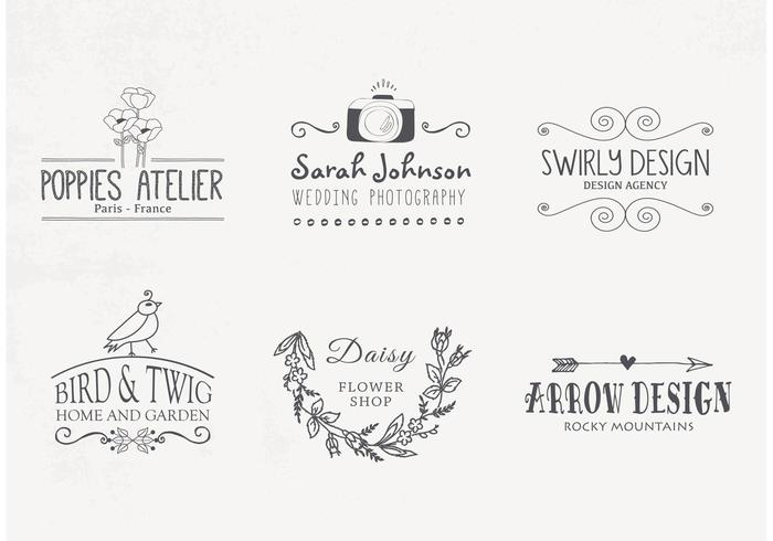 Hand Drawn Logo Designs Vector Download Free Vector Art Stock
