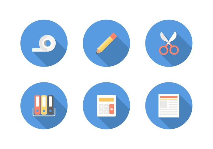 Free Flat Office Supply Vector Icons