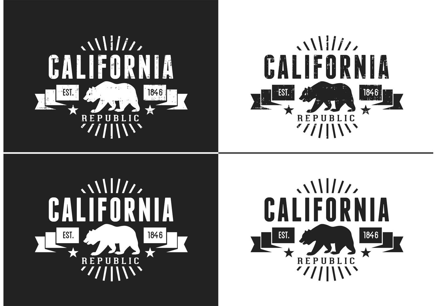free california bear vector retro logo download free