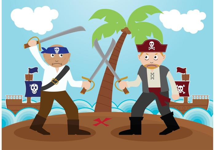 Fighting Pirate Illustration Vector