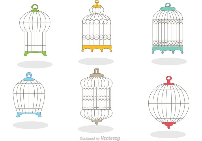 Collection of Vintage Bird Cage Vector