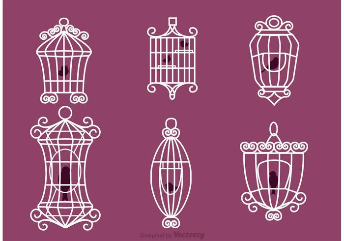 Vintage Bird Cage Vectoren Met Vogels
