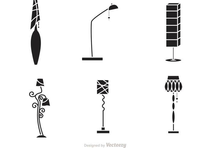 Black Modern Chandelier Icons Vector