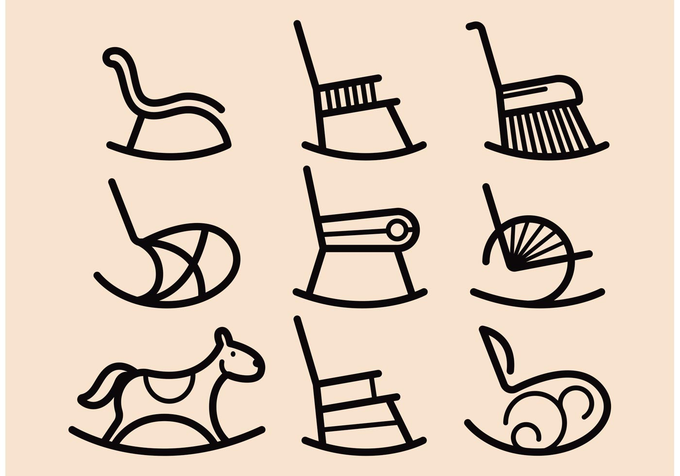 Rocking Chair Vector Icons Download Free Vector Art
