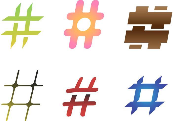 6 vetores Hashtag grátis