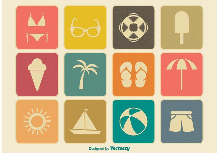 Vintage Summer Icon Set