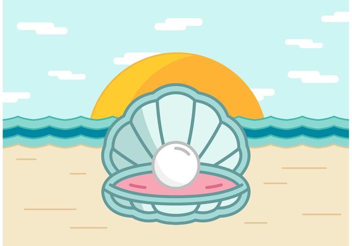 Pearl Shell On The Beach Vector