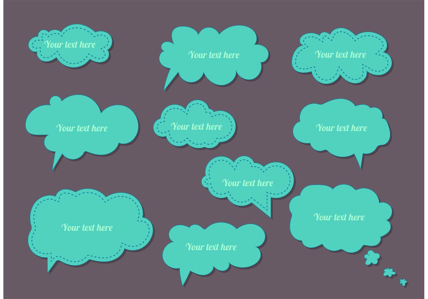 cute thought and word bubble templates download free vector art