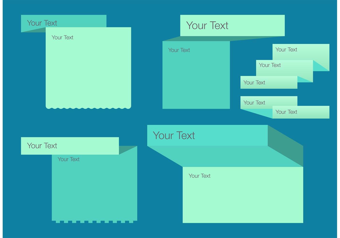 folded text box template vector set