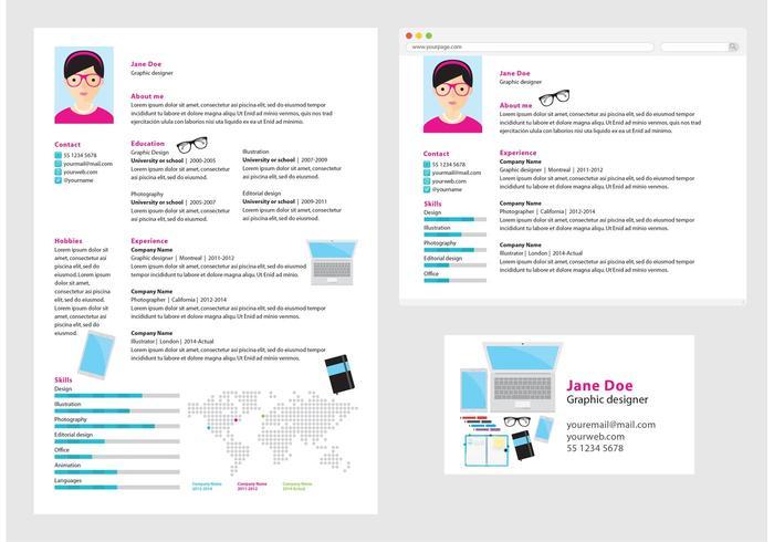 Vector Curriculum Vitae Graphic Designer