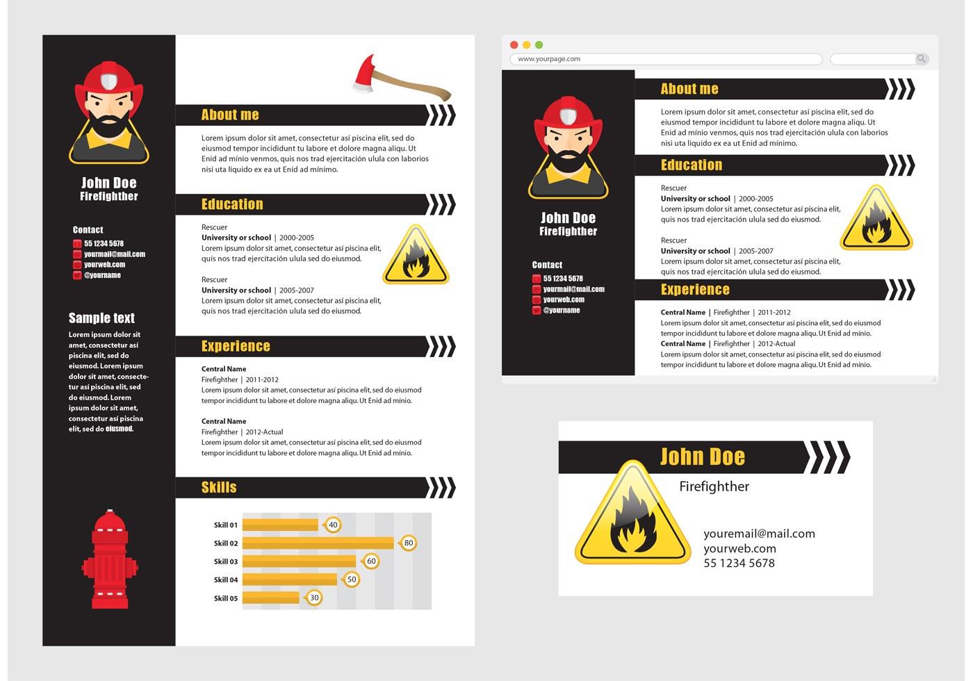 Vector Curriculum Vitae Bombero - Descargue Gráficos y Vectores Gratis