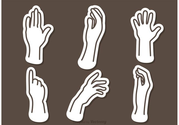 Hand Outline Icons Vectors