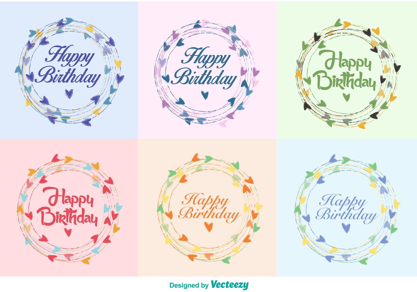 Happy Birthday Wreath Vectors