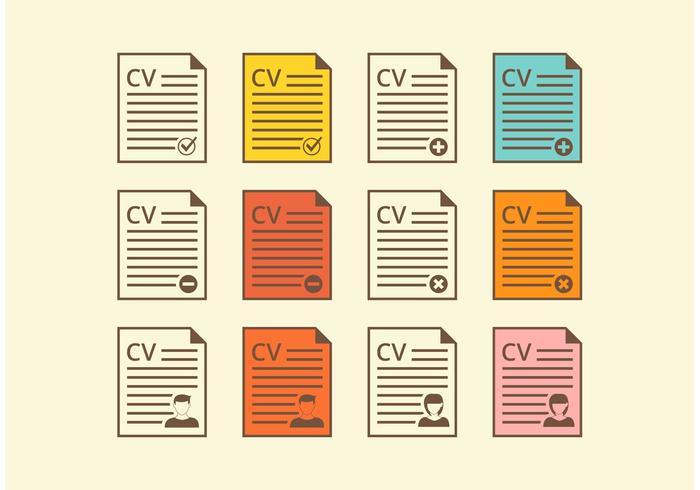Libre Retro Curriculum Vitae Vector Iconos