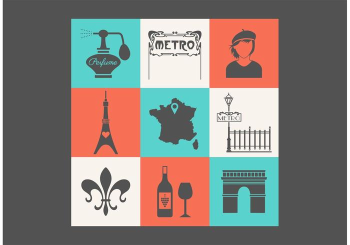 Free Paris Vector Icon Set