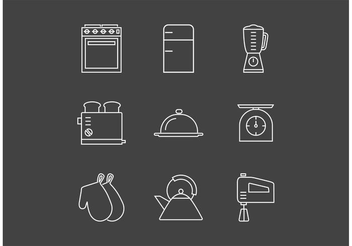 Free Outline Vintage Kitchen Utensils Vector Icons