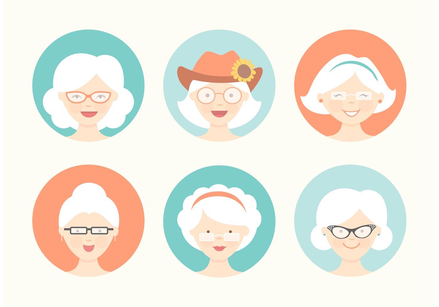 Free Funny Grandma Avatar Vector Set Download