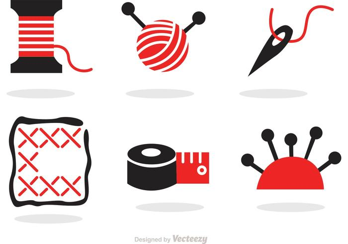 Sewing And Needlework Black And Red Icons Vector