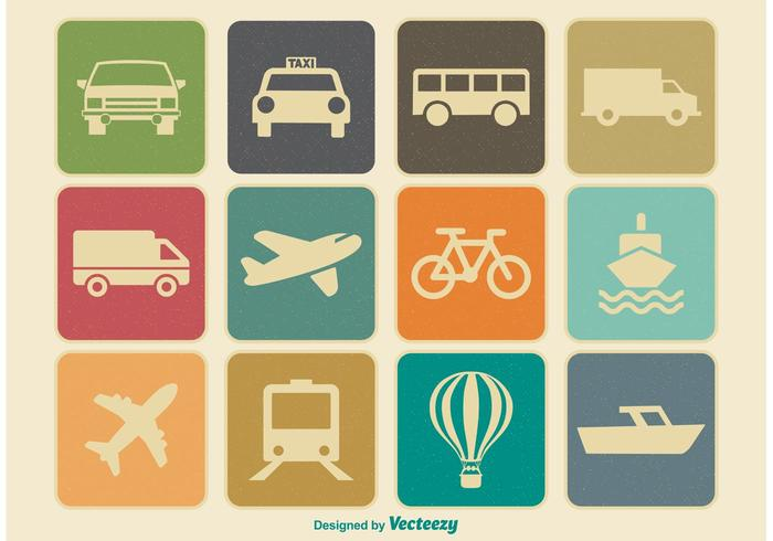 Vintage Retro Transporation Icon Set