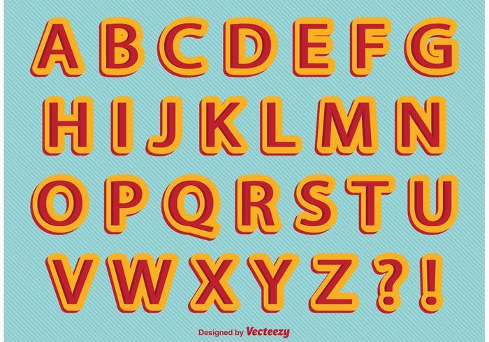 Alfabeto retro del estilo cómico