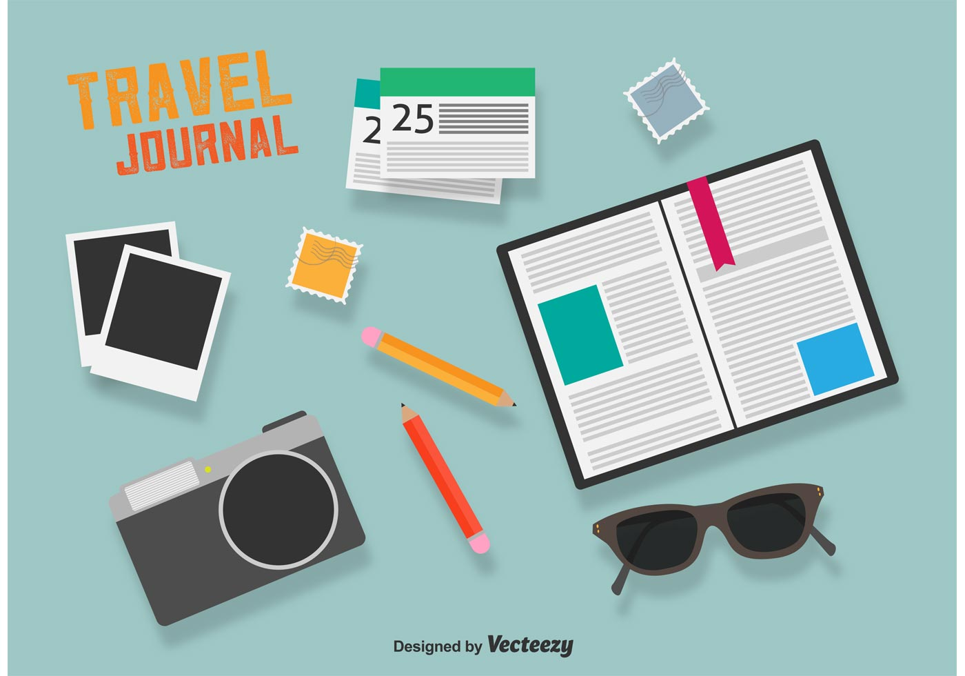 Travel Journal Color Flat Icons - Download Free Vector Art ...