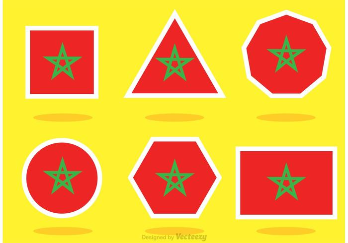 Different Shaped Morocco Flag Vectors