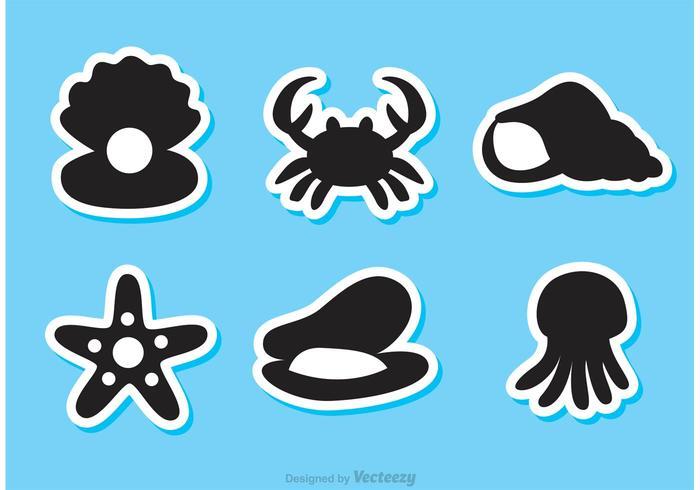 Black Sealife Vector Icons