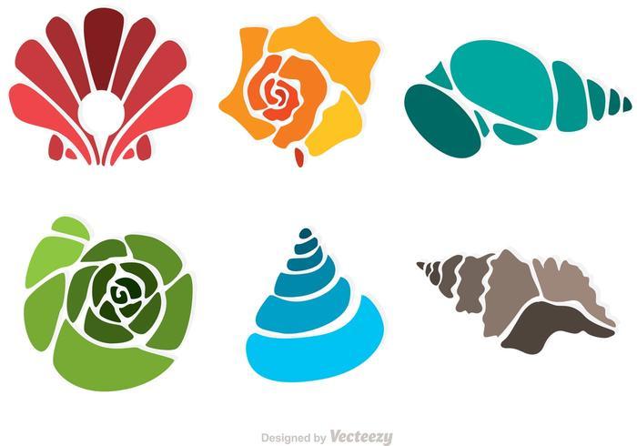 Coloridos vectores mar Shell