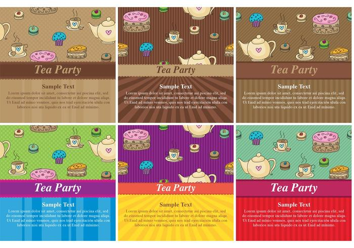 High Tea Party Vector Cards