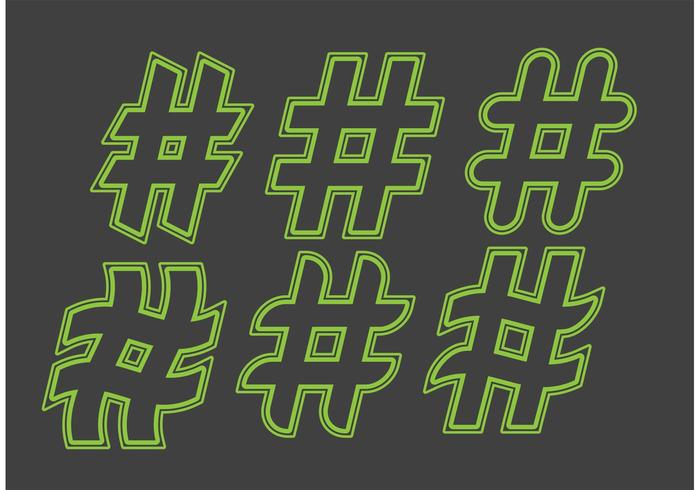 Green Hashtag Vectors
