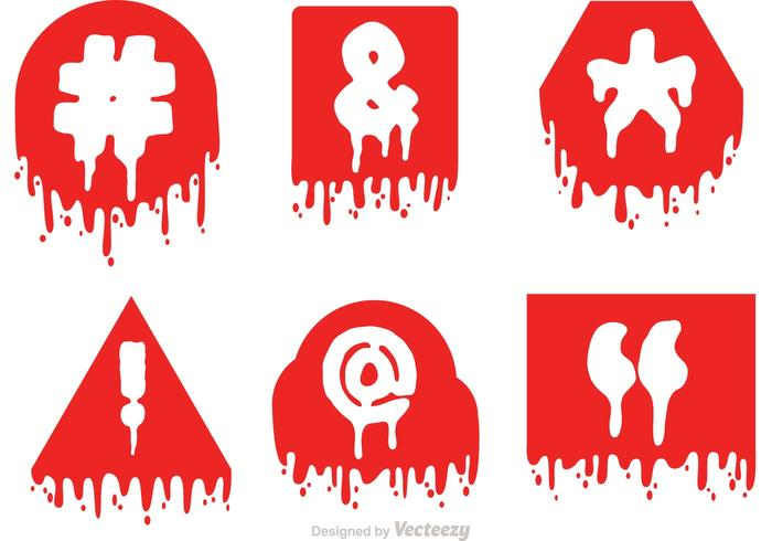 Hashtag Sosial Media Symbol Drip Red icons Vector