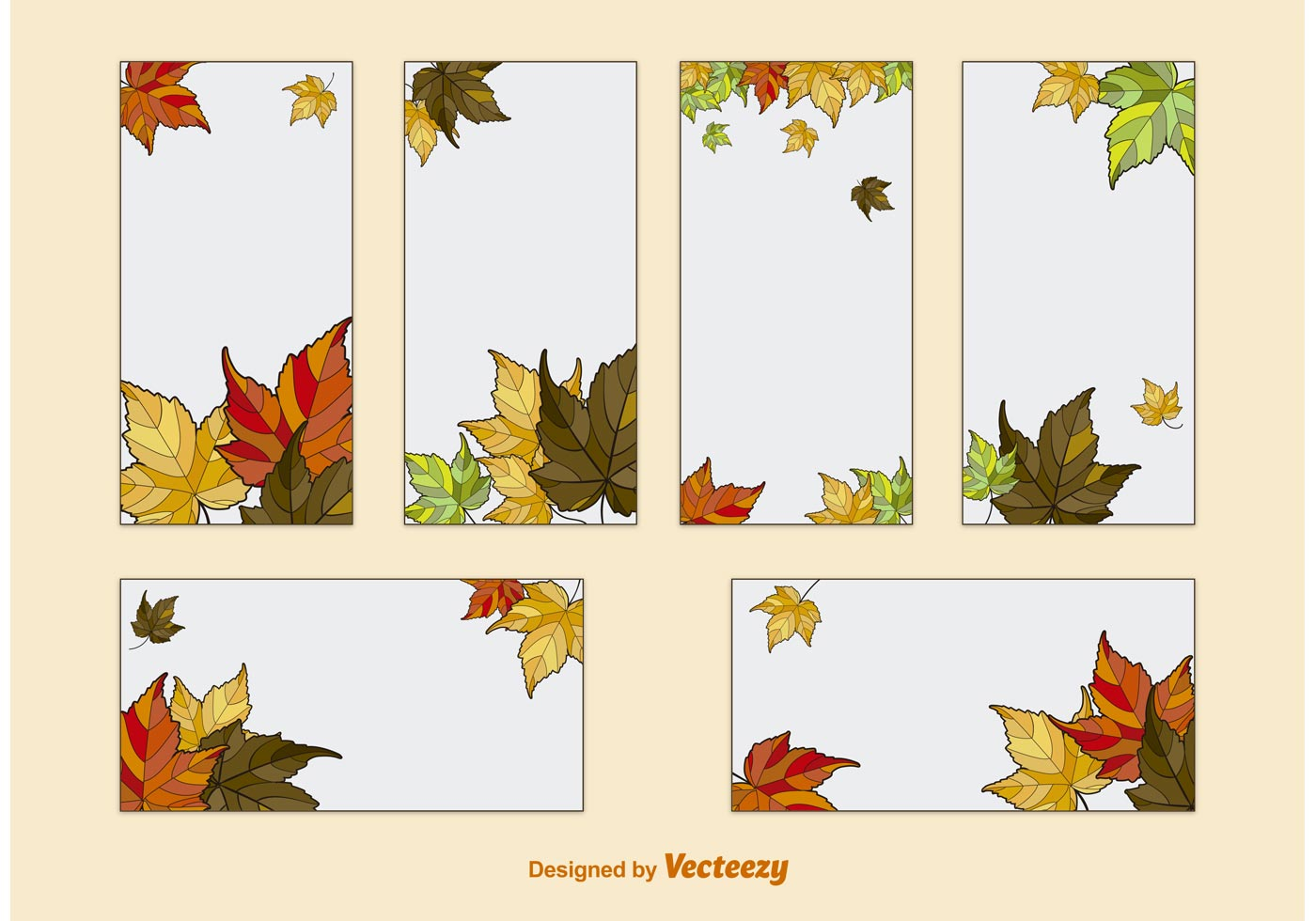 Autumn Leaves Card Template Vectors - Download Free Vector ...