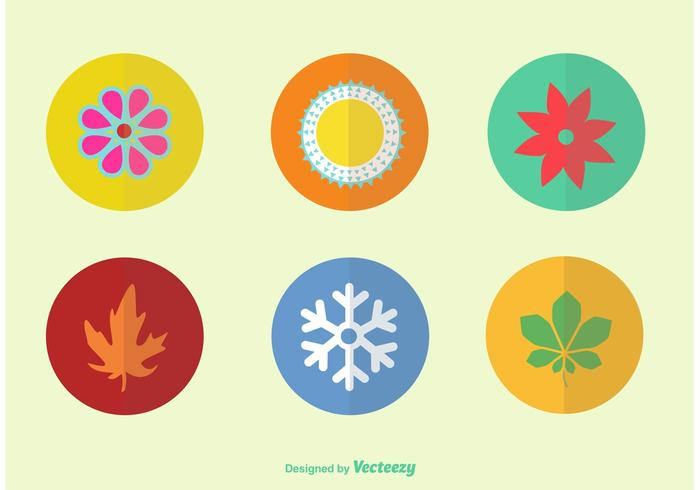 Flat Color Seasonal Vector Icons