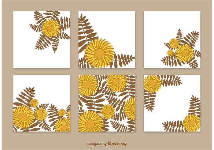 Floral Cards Template Vectors