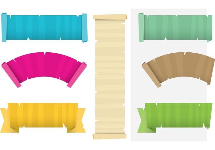 Colorful Papyrus Scrolled Paper Vectors