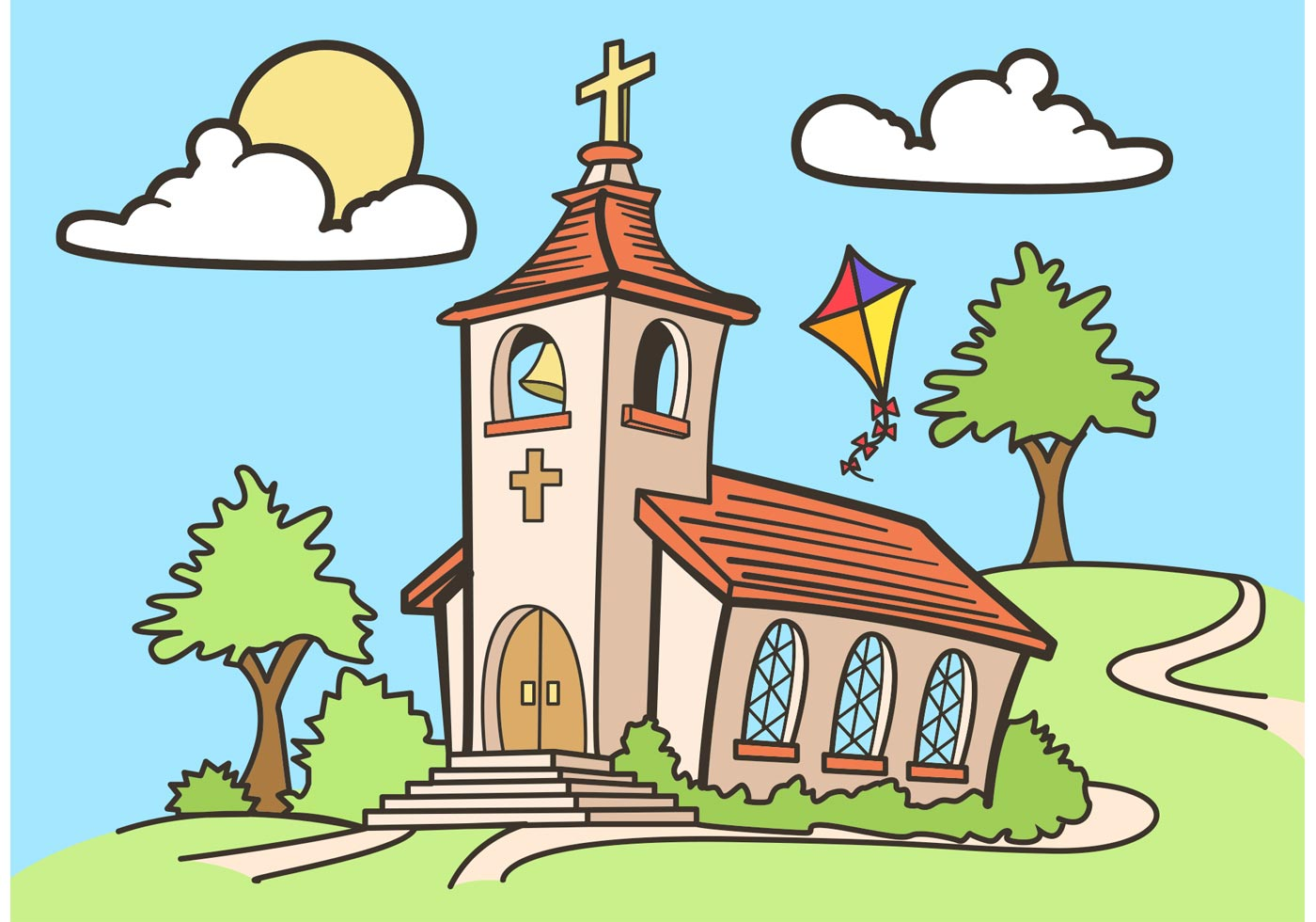 Country church vector drawing free download free vector art stock graphics images