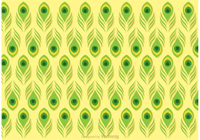 Lime Green Peacock Feather Pattern Vector