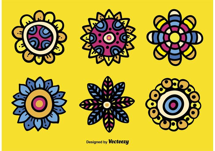 Hand Drawn Abstract Flower Vectors