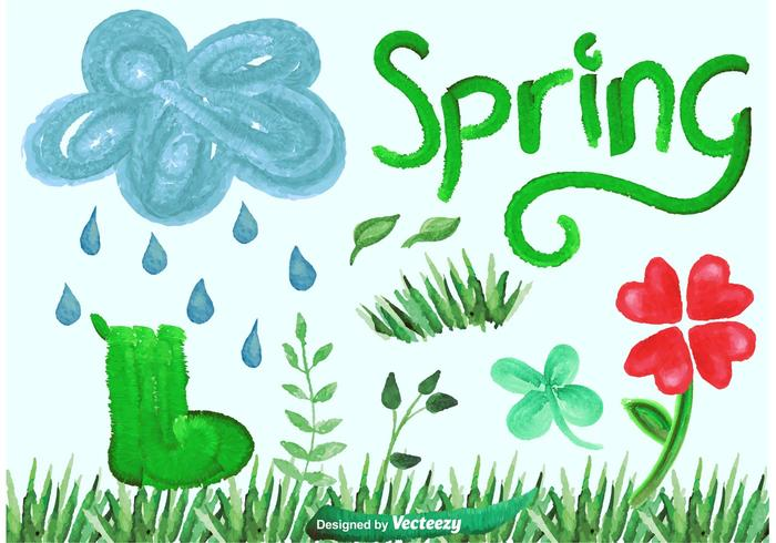 Watercolor Vector Spring Graphics