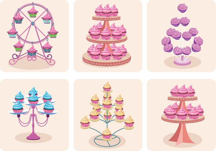 Girly Cupcake Stand Vectores