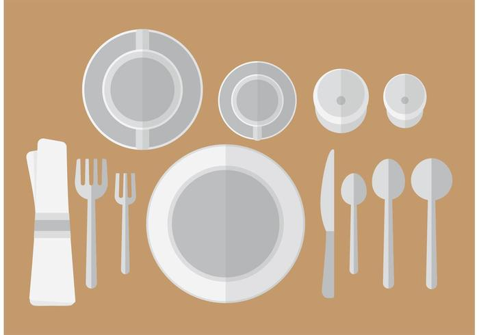 Flat Dinner Table Setting Vector